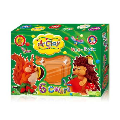 Super plastilina pentru modelaj Orange Elephant, Hedgehog and Squirrel, 6 culori